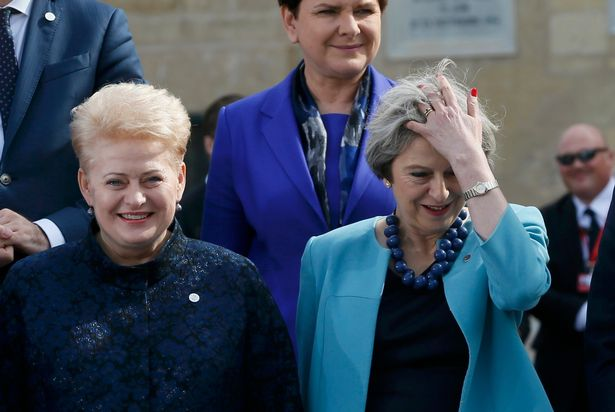 Lithuanian President Dalia Grybauskaite (left) with Prime Minister Theresa May